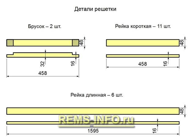 Чертеж детелей центрального решетчатого блока.