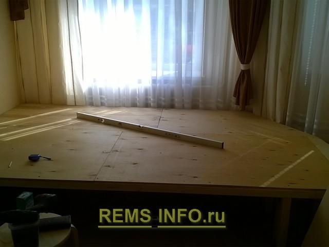 Накрываем кровать подиум фанерой 2.