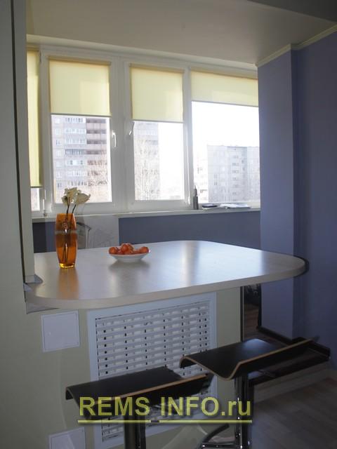 Присоединение балкона на кухне.