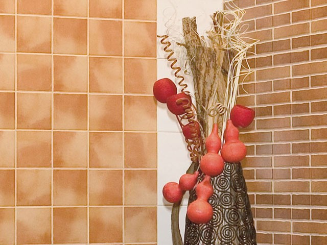 Интересная комбинация кафеля с применением цветной затирки.