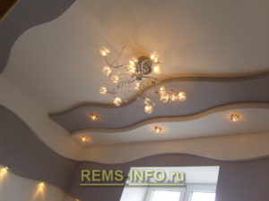 Подвесные потолки из гипсокартона фото24