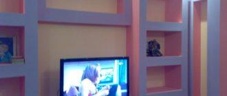 Стенка из гипсокартона под телевизор.