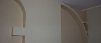 Конструкции из гипсокартона на стене - фото.