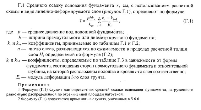 Формула определения средней величины осадки по схеме линейно-деформируемого слоя (приложение Г СП 22.13330.2011).