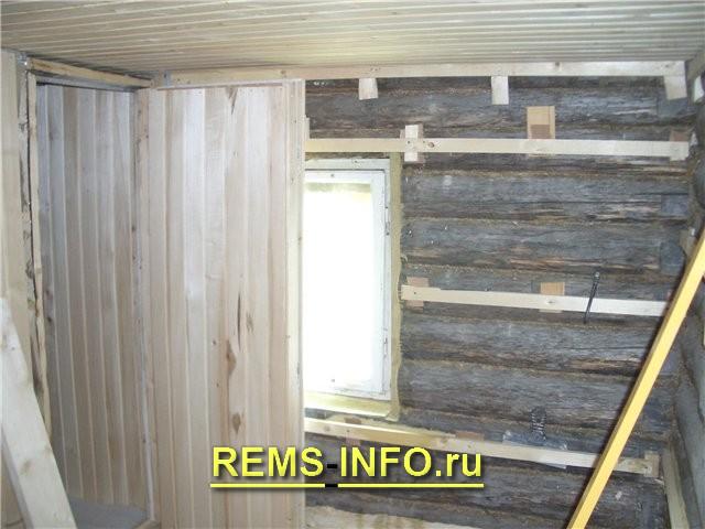 Отделка стен и потолка бани вагонкой
