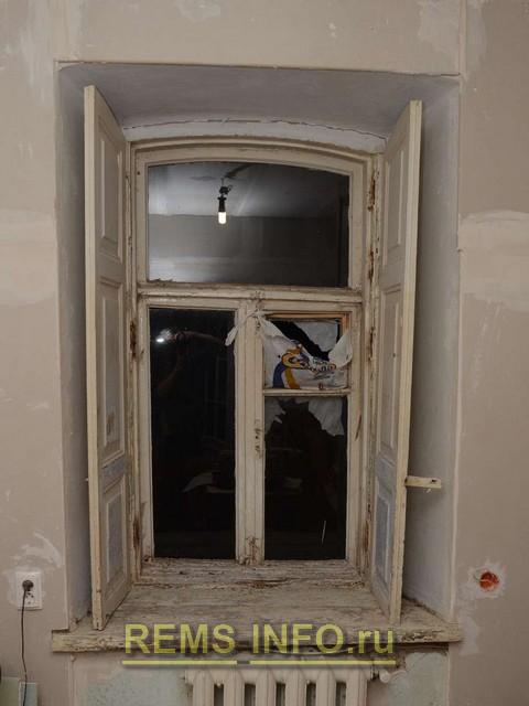 Реставрация деревянного окна - первоночальный вид.