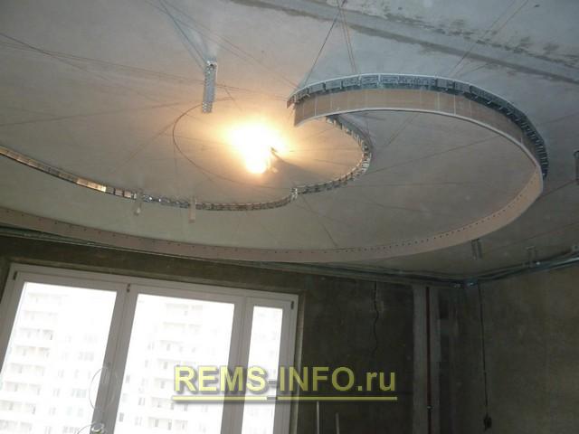 фото потолок из гипсокартона спираль патологии над