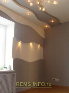 Подвесные потолки из гипсокартона фото25