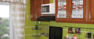 Ремонт малогабаритной кухни фисташкового цвета.